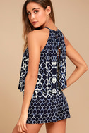 BB Dakota Vaughn Navy Blue Print Romper 2