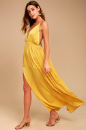 Uncharted Waters Mustard Yellow Satin Maxi Dress 2