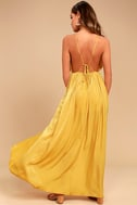 Uncharted Waters Mustard Yellow Satin Maxi Dress 3