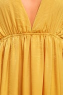 Uncharted Waters Mustard Yellow Satin Maxi Dress 4