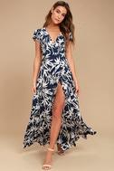 Amuse Society Provence Navy Blue Print Wrap Maxi Dress 1
