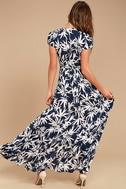 Amuse Society Provence Navy Blue Print Wrap Maxi Dress 3