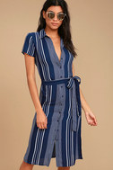 All of My Love Navy Blue and White Striped Belted Dress 1