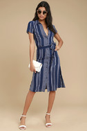 All of My Love Navy Blue and White Striped Belted Dress 2