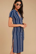 All of My Love Navy Blue and White Striped Belted Dress 3