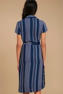 All of My Love Navy Blue and White Striped Belted Dress 4