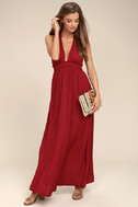 Unforgettable Night Burgundy Satin Maxi Dress 2