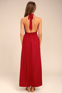 Unforgettable Night Burgundy Satin Maxi Dress 3