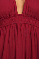 Unforgettable Night Burgundy Satin Maxi Dress 4