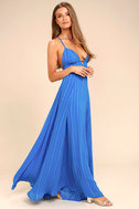 Elevate Blue Embroidered Maxi Dress 1