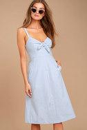 Ain't No Other Light Blue Chambray Midi Dress 1
