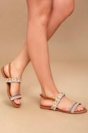Danica Nude Embroidered Pompom Flat Sandals 2