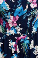 Majorca Navy Blue Floral Print Off-the-Shoulder Romper 4