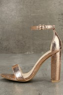 Glamorous Ceara Rose Gold Ankle Strap Heels 1