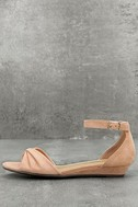 Maryanna Blush Suede Wedge Sandals 1