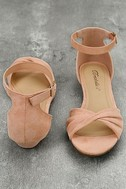 Maryanna Blush Suede Wedge Sandals 3
