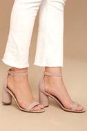 Elettra Blush Nubuck Ankle Strap Heels 2