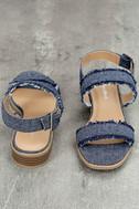 Elin Dark Blue Denim Heeled Sandals 3