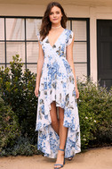 French Countryside White Floral Print High-Low Dress 2