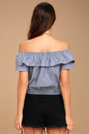 Amore Than Ever Blue Striped Off-the-Shoulder Crop Top 3