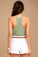 Others Follow Allyson Washed Olive Green Tank Top 4