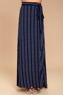 Whole Wide World Navy Blue Print Wrap Maxi Skirt 2
