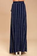 Whole Wide World Navy Blue Print Wrap Maxi Skirt 3