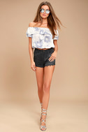 Cotton Candy Daydream Blue Grey Tie-Dye Off-the-Shoulder Top 2