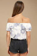 Cotton Candy Daydream Blue Grey Tie-Dye Off-the-Shoulder Top 3