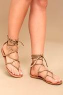 Emilia Beige Suede Lace-Up Flat Sandals 1