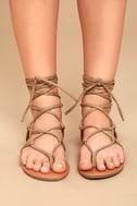 Emilia Beige Suede Lace-Up Flat Sandals 2