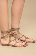Emilia Beige Suede Lace-Up Flat Sandals 3