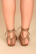 Emilia Beige Suede Lace-Up Flat Sandals 4