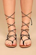 Emilia Black and Gold Lace-Up Flat Sandals 2