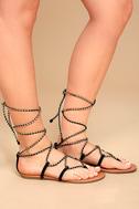 Emilia Black and Gold Lace-Up Flat Sandals 3