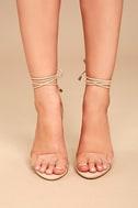 Ledah Nude Suede Lace-Up Heels 2