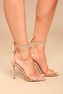 Ledah Nude Suede Lace-Up Heels 3