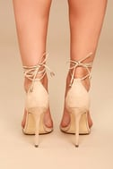 Ledah Nude Suede Lace-Up Heels 4