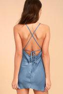 Incomparable Denim Blue Satin Slip Dress 4