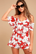 J.O.A. Akela Red Floral Print Off-the-Shoulder Skort Dress 1