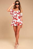 J.O.A. Akela Red Floral Print Off-the-Shoulder Skort Dress 2