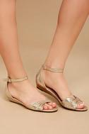 Maryanna Champagne Wedge Sandals 2