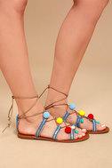 Isabeau Natural Lace-Up Pompom Sandals 3