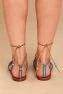 Isabeau Natural Lace-Up Pompom Sandals 4