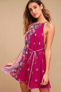 Free People It's a Cinch Magenta Floral Print Dress 1