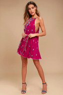 Free People It's a Cinch Magenta Floral Print Dress 2