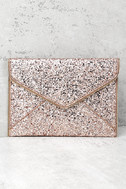 Rock Candy Rose Gold Sequin Clutch 1