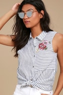 All in a Day's Needlework Grey Striped Embroidered Button-Up Top 1