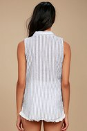 All in a Day's Needlework Grey Striped Embroidered Button-Up Top 3