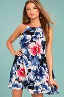 Here and Luau Navy Blue Floral Print Swing Dress 1